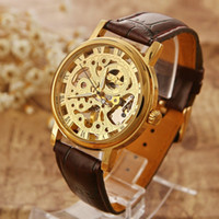 Wholesale Hollow Skeleton Mechanical Watch - Father's Day 2015 Winner Hollow Analog Skeleton Men Self-Wind Men Luxury Brand Mechanical Leather Strap Military Watches Relogio Masculino
