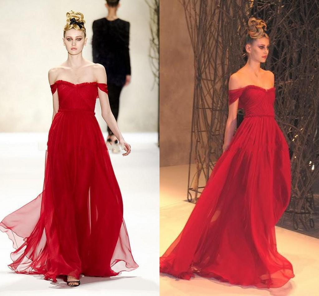 7c78e4d10df 2014 Sexy Elegant Prom Dresses Red A Line Pleats Off Shoulder Prom Dresses  Chiffon Sweetheart Long Prom Dresses Celebrity Dresses Cheap Ball Gown Prom  ...