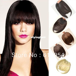 Wholesale Ombre Clips For Hair Extension - Black Blonde Brown Clip In On Bang Fringe Hair Extension For Charming Style