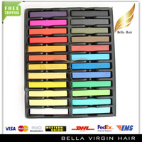 Wholesale Temporary Hair Color Pastels - 24 Colors Hair Dye Color Chalk Fashion Hot Fast Non-toxic Temporary Hair Chalk Dye Soft Pastel Hair Styling Tools Free Shipping