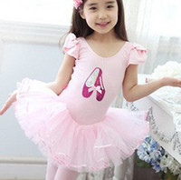 Wholesale Girls Years Dance - Free freight 3-8 Years pink  beige white short sleeve girl tutu dance dress,kid dress,baby skirt,Stage dress Wholesale & retail