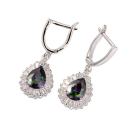 Wholesale Mexican Silver Hoop Earrings - Sporty Fashion Rainbow Mystic stone Silver Plated cute Earrings R712G First class products Recommend Promotion Favourite Best Sellers