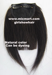Wholesale Natural Hair Bangs Extensions - 1pc clip in on human hair bang fringe frinde hair pieces extension natural black
