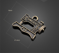 Wholesale Sewing Pendants - 13241 vintga sewing machine charms Necklace earrings Pendants DIY alloy Charms Jewelry Findings & Components