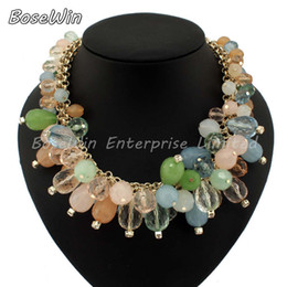 Wholesale Necklace Statement Neon Crystal - 2014 Fashion Multilevel Chains Multicolor Neon Resins Crystal Bib Necklaces Women Statement Jewelry CE2013