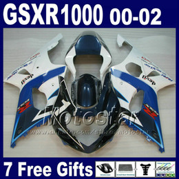 Fairing kit for SUZUKI GSXR1000 K2 2000 2001 2002 white blue fairings set GSXR 1000 00 01 02 GSX-R1000 with 7 gifts SA8