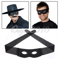 mascaras de zorro negro al por mayor-Black Zorro Hero Bandit Eye Mask Blister Masquerade Ball Carnaval Fiesta de Halloween Decoración Fancy Dress Costume para hombre