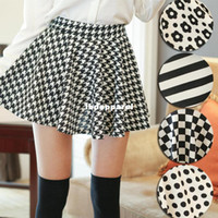 Wholesale Houndstooth Pleated Skirt - AB Artboor Sping and Summer skirts 2014 NEW Fashion Retro High Waist Houndstooth Pleated Short Mini Skirt +free shipping