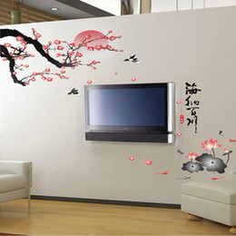 Wholesale Lotus Wall Decals - Plum Blossom Lotus Flowers Wall Sticker Vinyl Stickers Mural Adesivo De Parede Decal DIY Home Decoration Decor Rooms Stickers H10321