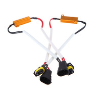 can bus hid canbus al por mayor-Bulbo 2pcs H8 H9 H11 LED de la niebla de la luz de xenón HID lámpara de LED DRL decodificador Resistencia de bus CAN arnés de cable adaptador de 50w 6ohm 9-14V K1165
