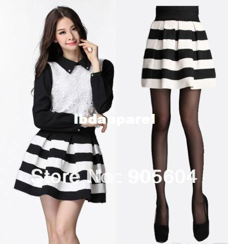 dacc23507 Fashion Women's Autumn Winter Casual Flared Black and White Stripe Pleated  Mini Skirt Ladies Sexy Girls