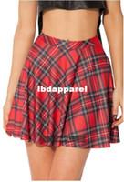 Wholesale Red Tartan Skirts - 2014 NEW G12 Tartan Red Skater Skirt Black Milk