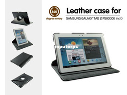 Wholesale Leather Case Galaxy Tab2 - 360 Rotating PU Leather Cover Case for Samsung Galaxy Tab2 10.1 P5100 P5110 P5113 free shipping