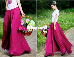 Wholesale Straight Long Skirts Women - 2014 New Bohemian Women Lady Chiffon Floor Length Long Skirts, 11 Color, Free Size