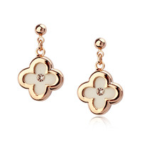 Wholesale rose chandeliers - Rigant earrings wholesale sweet clovers ShanZuan plating rose gold women lucky jewelry