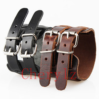 Wholesale Wholesale Vintage Wide Cuff Bracelets - Punk Mens Bracelets Thick Double Band Through Buckle Wide Vintage Genuine Leather Bracelet Wristband Cuff WB002