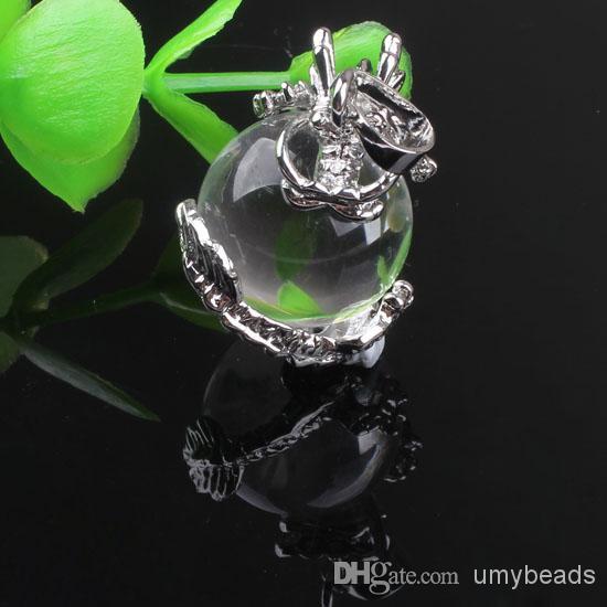 all'ingrosso il fascino d'argento placcato naturale della roccia pietra di cristallo di Shell Inlay Drago rotonda borda la collana il pendente
