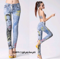Wholesale Girl Rhinestone Pant - Wholesale Hot Sell New Fashion Women Casual Pencil pants Washed Girls Pattern Hot Drilling Skinny Long Personality Jeans Free shipping
