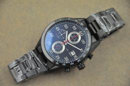 Wholesale Calibre Black Face - Luxury Swiss Black Calibre 16 CAL 1887 Faces Mens Quartz Chronograph Stainless Steel Watches Stopwatch Top brands Man Dress Wristwatches Men