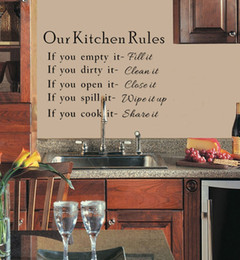 Wholesale Kitchen Decals Quotes - Hot Sale! Our Kitchen Rules Quote Vinyl Art Wall Stickers Decal Mural Home Decor