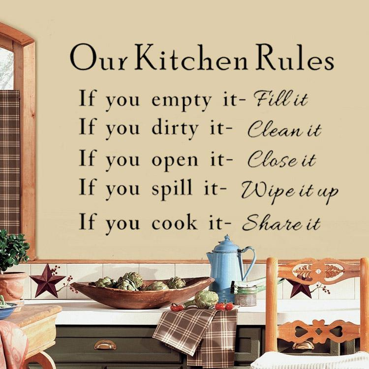 Kitchen Rules Quote Room Wall Stickers Vinyl Art Decal Removable Hot Sale Sfhs Org