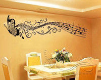 ingrosso decalcomanie a muro di vinile a farfalla-Adesivo murale di musica farfalla Home room art Decor VINYL rimovibile Nero C