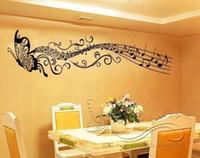 kelebek siyah duvar çıkartması toptan satış-Müzik kelebek duvar çıkartması çıkartması Ev odası sanatı Dekor VINYL çıkarılabilir Siyah C