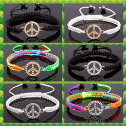 Wholesale Peace American Flag - 100pcs Crystal Gold Silver Peace Cross Bead Friendship Beaded Adjustable Bracelet