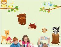 baykuş baykuş dekor toptan satış-Baby Love Baykuşlar Ağacı Hayvanlar Duvar Sticker Ev Dekor Decal Sanat Vinil Çocuk Kreş