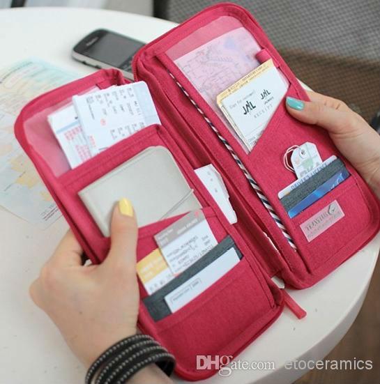 新しい旅行パスポートIDカードホルダー化粧品袋財布財布財布オーガナイザーケースサムスンS3 S4 S5 8色