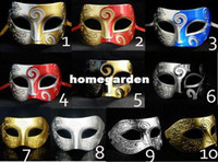 Wholesale Sliver Masquerade Masks - Sliver Half Faces Venetian Mens Mask Mardi Gras Masquerade Halloween Costume Party MASKS Free Shipping 10 PCS