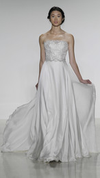 Wholesale Backless Silk Chiffon Wedding Dresses - A-Line Wedding Dresses lace Bridal gown with pearl & crystal detail and silk satin faced chiffon circle skirt Kelly Faetanini 2014 Fall
