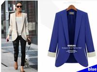 Wholesale Casacos Femininos Plus Size - 2014 spring & autumn new fashion woman's full sleeve shoulder pads plus size slim pink blaser casacos femininos jaqueta esporte