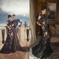 Wholesale Picture Gloves - New Oved Cohen Sexy High Neck Sheer Sleeveless Long Gloves Applique Mermaid Black Lace Exquisite Red Carpet Arabic Prom Dresses DL1311787