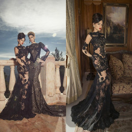 Barato Luvas De Renda-New Oved Cohen Sexy High Neck Sheer luvas longas sem mangas Applique Mermaid Black Lace requintado tapete vermelho árabe Prom Dresses DL1311787