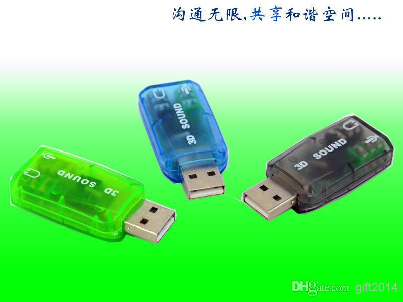Wholesale - USB 2.0 External Sound card 3D 5.1 Audio Adapter for laptop PC NEW accessories