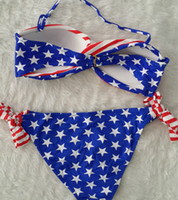 Wholesale Twisted Padded Bandeau Bikini - Hot Sexy Summer Women USA Flag bikini Stars & Stripes Padded Twisted Bandeau AMERICAN Swimwear,100sets lot