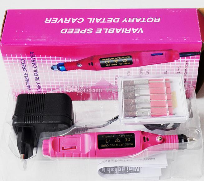 Tragbare Maniküre Pediküre Set Stiftform Electric Nail Drill Machine Art Salon-Maniküre-Datei-Polnisch-Werkzeug-Maniküre-Kits+6 Bits
