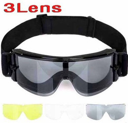 Wholesale Lens Dust Protection - Tactical X800 Tactical Goggle Hunting Airsoft Wind Dust Protection Motorcycle Glasses GX1000 Black 3 Lens