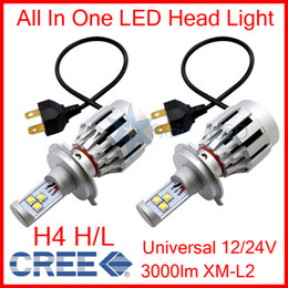 Wholesale Truck Lights 12v Led Headlight - 2 Sets H4 60W CREE LED Headlight All In One High Low XM-L2 SMD Universal 12V 24V Car Truck White 6500K 3000lm Built-in Heat Dispense Fan NEW