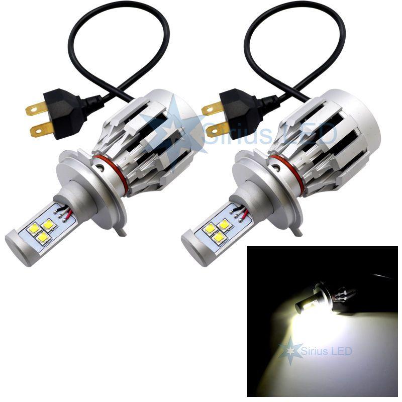 2 Conjuntos H4 60 W CREE LED Farol Tudo Em Um Alto / Baixo XM-L2 SMD Universal 12 V / 24 V Caminhão Carro Branco 6500 K 3000lm Calor Embutido Fã de Distribuição NOVO