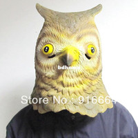 Wholesale Theater Latex Masks - Latex Owl Horse Head Mask Creepy Halloween Animal Costume Theater Prop Novelty Latex Rubber