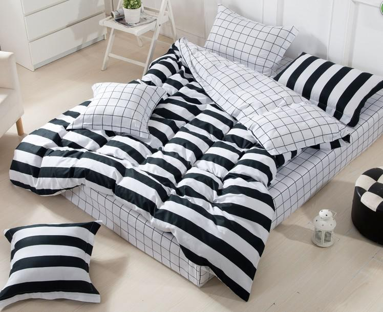 Exceptionnel 3d Black And White Striped Comforter Set Sets Queen Full Size Bedspread  Duvet Cover Sheets Bed In A Bag Sheet Linen Quilt 100% Cotton Bed In Bedding  Set ...