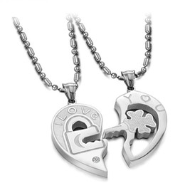 """Wholesale Lock Key Necklace Couple - 8%off!Love!Lock and key jigsaw puzzle.Diamond!""""Love you"""" titanium steel couple necklace!Stainless steel!DROP SHIPPING!hot sale!1pairs 2pcsTY"""