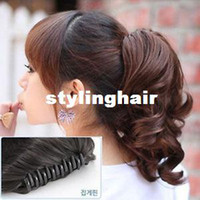 Wholesale Curly Ponytail Black Hair - Womens Hairpiece Short Wavy Curly Claw Hair Ponytail Clip on Hair Extensions