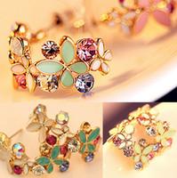 Wholesale Ear Stud Butterfly - New In 2pairs lot Korean Style Gold Plated Alloy Enamel Colorful Rhinestone Flower Hoop Butterfly Ear Stud Earrings [JE06215 *2]