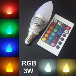 Discount remote control candle bulb - E12 E14 Candelabra 3W dimable Spotlight Remote control RGB Flash changing LED candle lights bulb for KTV Festival Weddin