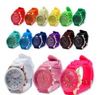 Wholesale Candies Best Rubber - Factory sales style geneva watch style rubber silicone jelly candy unisex quartz watches free shipping 15 color best price best2011