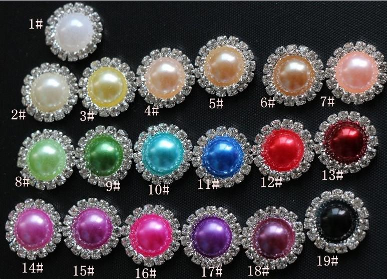 16 ملليمتر شقة عودة كريستال أزرار اللؤلؤ 50 قطعة / الوحدة المعادن حجر الراين كريستال فضفاض الماس مجوهرات diyl