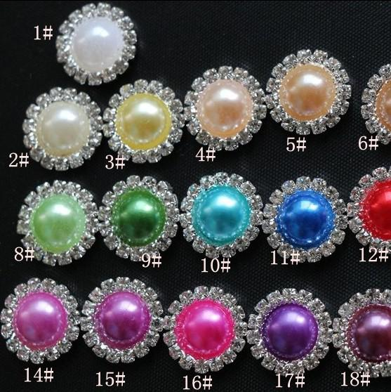 16mm Flat Back Crystal Pearl Buttons 50 unids / lote 19 colores Metal Rhinestone Crystal Loose Jewelry DIYl